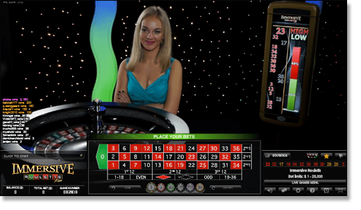 Play live dealer immersive roulette for real money