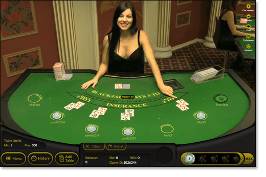Play live dealer blackjack online with beautiful female croupiers