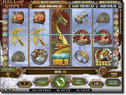 Hall of the Gods progressive jackpot pokies