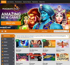 Emu Casino online slots and table games catalogue