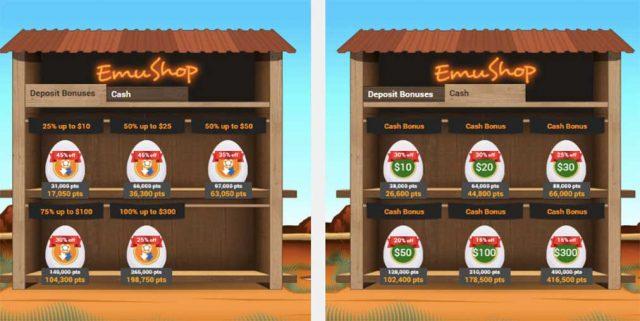 Emu online casino shop for bonuses