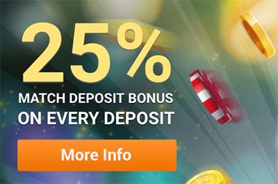 25% bonus on every deposit